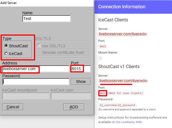 BUTT broadcasting server settings