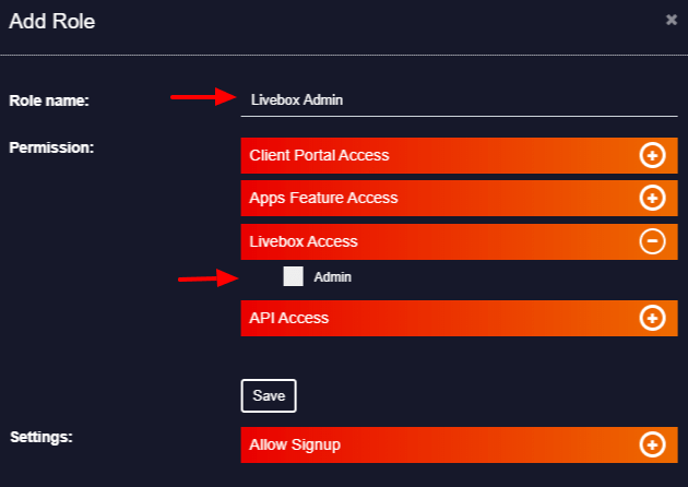 Livebox admin access