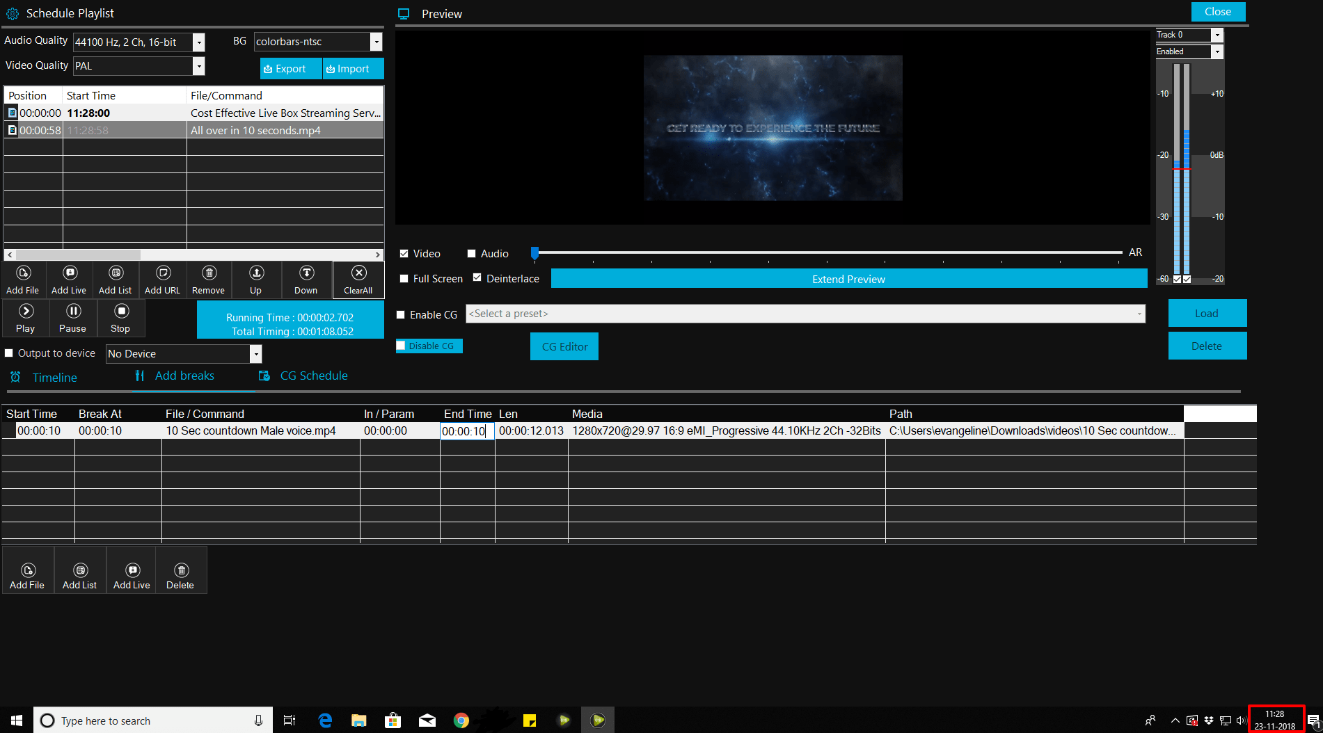 Livebox playout software for live streaming
