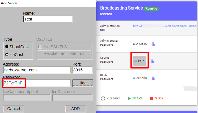 live streaming using BUTT broadcasting server