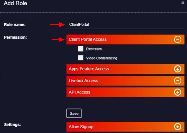 clientportal role